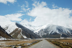 Snowcapped mountains of Tibet and QinghaiTibet Highway Royalty Free Stock Photo