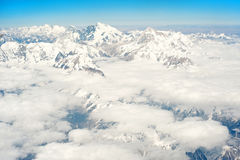 Snowcapped mountains under the blue sky Stock Photo