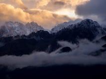 Snowcapped Peaks at Sunrise, Kenai Peninsula, Alaska stock image