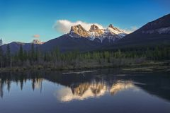 Snowcapped Three Sisters Mountains Canmore Alberta Canadian Rockies Stock Image