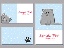 Snowcat cards Royalty Free Stock Image