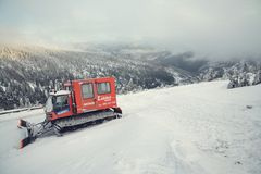 Snowcat in snowy country Royalty Free Stock Photo
