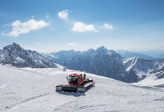 Snowcat on the top of Germany, Zugspitze Stock Photo