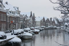 Snowcoverd Dutch Town Stock Photos