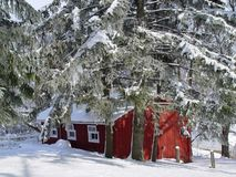 Snowcovered barn Stock Photo