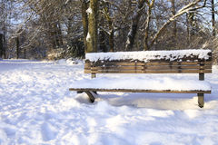 Snowcovered bench in park Stock Photo