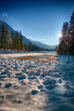 Snowcovered Lake Hintersee, Berchtesgadener Land, Bavaria, Germa Stock Photography