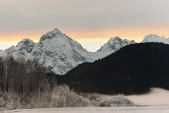 Snowcovered Mountains in  Alaska. Royalty Free Stock Images