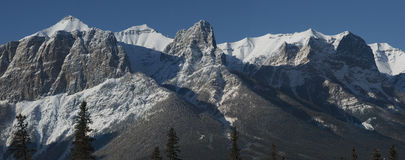 Snowcovered mountains in canadian Rockies. A huge detailed panorama of Canadian Rockies .Canmore , Banff, Alberta Canada Royalty Free Stock Images