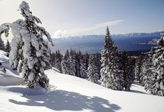 Snowcovered View of Lake Tahoe Royalty Free Stock Photography
