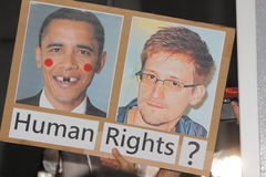 Snowden Gains Support From Protesters in Hong Kong Stock Photography