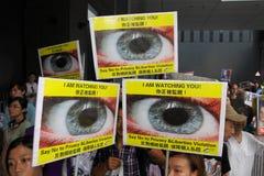 Snowden vinstsservice från personer som protesterar i Hong Kong Arkivbilder