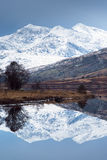 Snowdon. Mount Snowdon, highest mountain in England and Wales, reflected in the lake called Llynnau Mymbyr Stock Photo