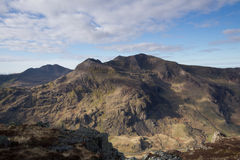 Snowdon Massif. A view of the Snowdon mountain group, massif, with the peaks of Snowdon, Crib Goch, Crib y Ddysgl and Lliwedd, located in the Snowdonia National Royalty Free Stock Photos