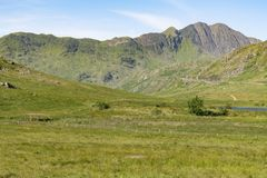 Snowdon Mountain Range from Capel Curig. Snowdon Mountain Range. Snowdon is the highest mountain in Wales and is the buisiest mountain in Britain, this may be Royalty Free Stock Images