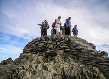 Snowdon Mountain Top Tourists royalty free stock images