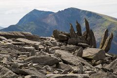 Snowdon peak viewed from Glyder Fawr mountain royalty free stock photos