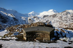 Snowdon Viewpoint. Winter white Snowy scenes around Snowdonia National Park North Wales UK Stock Photography