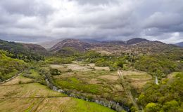 Snowdonia国家公园鸟瞰图在威尔士-英国 免版税库存照片