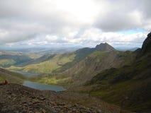 Snowdonia, beau Pays de Galles Pris du sommet de Snowdon Montagnes, crêtes, nuages Images stock