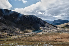 Snowdonia Landscape with lake. Open Snowdonian landscape, HDR bright sunlight Royalty Free Stock Photo