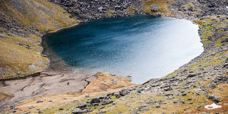 Snowdonia Landscape with Lake. A landscape of Snowdon with a lake and hikers Stock Photos