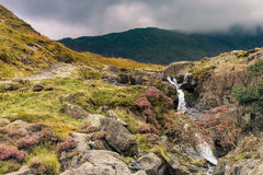 Snowdonia landscape. River flows down the mountain. Royalty Free Stock Images