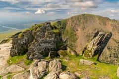 Snowdonia landscape, Wales, UK. View from Mount Snowdon, Snowdonia, Gwynedd, Wales, UK - looking north at Garnedd Ugain and Llyn Peris stock image
