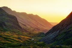 Snowdonia Nationaal Park in Noordelijk die Wales in Juni 2018 wordt genomen Stock Afbeelding