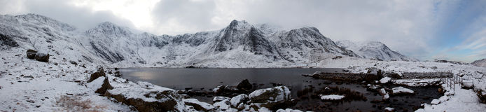 Snowdonia Panorama in Winter Stock Image