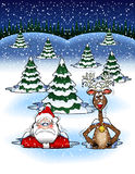Snowdrift_1.jpg. Cartoon graphic depicting Santa Claus and a reindeer stuck in the snow Royalty Free Stock Images