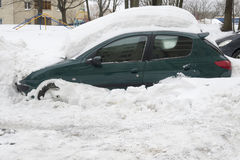 Snowdrift car Royalty Free Stock Images