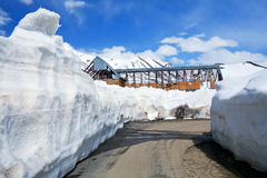 Snowdrift at the Leh - Manali Highway in Indian Himalayas Stock Photography