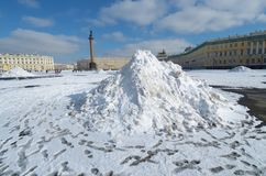 A snowdrift in the town square. Snow cleaning is available in the city Stock Images