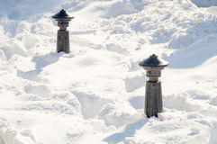 Snowdrifts around the street of columns on the street of Pomorie, Bulgaria Winter Royalty Free Stock Photography