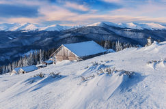 Snowdrifts and cabins Royalty Free Stock Image