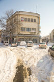 Snowdrifts on the main street of Pomorie, Bulgaria, winter Stock Photo