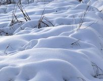 Snowdrifts after snowfall in morning Royalty Free Stock Images