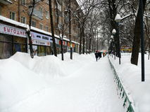 Snowdrifts in the streets after snowfall in Moscow Stock Photos