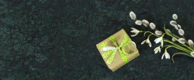 Snowdrop花、杨柳分支和giftbox在Verde危地马拉 免版税库存照片