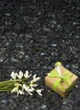 Snowdrop花和礼物盒在鲜绿色珍珠花岗岩worktop 免版税库存照片