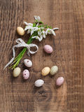 Snowdrop with chocolate egg Royalty Free Stock Photography