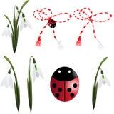 Snowdrop com trinket e ladybug Fotografia de Stock Royalty Free