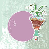 Snowdrop cupcake. Cute little girl holding a cupcake with snowdrop Stock Photo