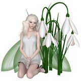 Snowdrop Fairy Kneeling by Winter Flowers. Fantasy illustration of a pretty white haired fairy kneeling with a group of snowdrop flowers, 3d digitally rendered Stock Photography