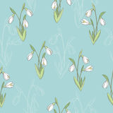 Snowdrop flower graphic color seamless pattern sketch illustration Stock Image