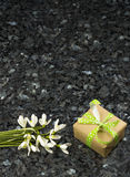 Snowdrop flowers and gift box on emerald pearl granite worktop Royalty Free Stock Photo