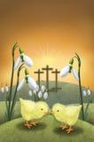 Snowdrop y pollo el el día de Pascua Fotos de archivo libres de regalías