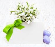 Snowdrops, пасхальные яйца и поздравительная открытка Стоковое Фото
