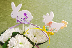 Snowdrops with animals decorations Royalty Free Stock Photography